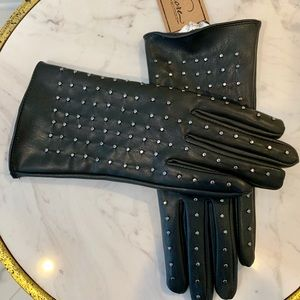 Accessories - Vegan Leather Studded Lined Gloves